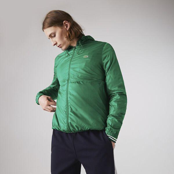 Men's SPORT Hooded Water-Resistant Jacket, GREEN, hi-res