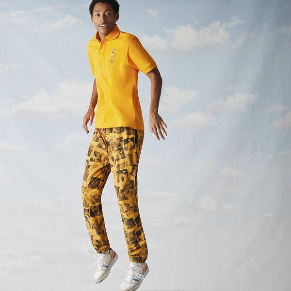 Men's Lacoste x Polaroid Colored Crocodiles Cotton Piqué Polo, GYPSUM, hi-res