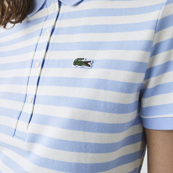 Women's Slim Fit Striped Pattern Polo Dress, NATTIER BLUE/FLOUR, hi-res