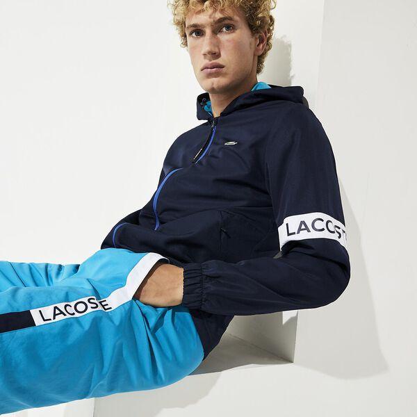 Men's SPORT Water-Resistant Hooded Zip Jacket, NAVY BLUE/CUBA-WHITE-OBSC, hi-res