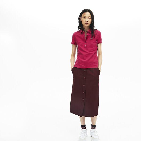 Women's 5 Button Slim Stretch Core Polo, FAIRGROUND PINK, hi-res