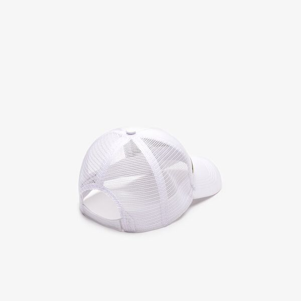 MEN'S SPORT GABARDINE AND MESH CAP, WHITE, hi-res