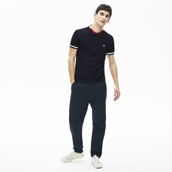 Men's Contrast Cotton Polo Shirt, MARINE/MARINE-FARINE-BORDEAUX, hi-res
