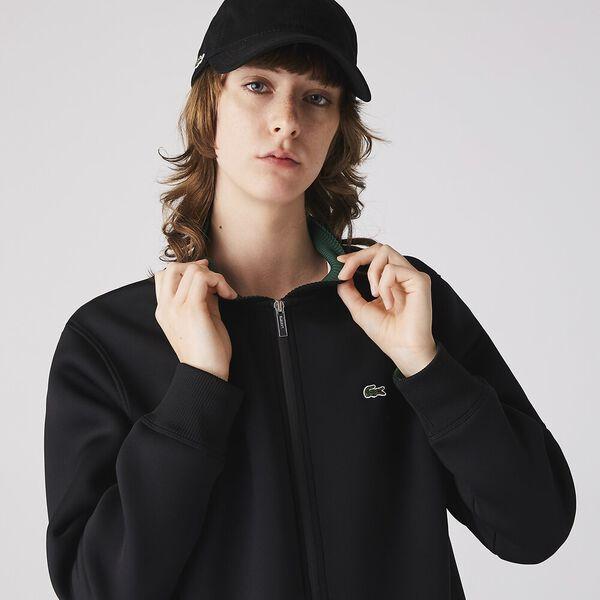 Women's Full Zip Neoprene Bomber Jacket, NOIR, hi-res