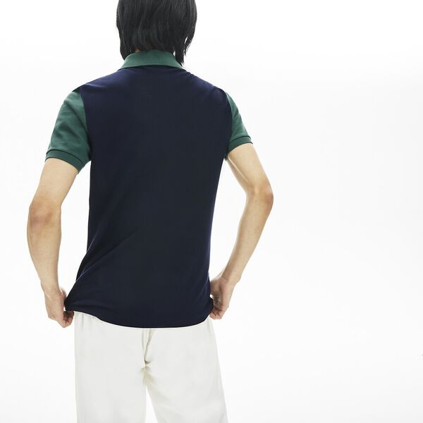 Men's Stretch Colourblock Polo Shirt, MARINE/FARINE-PIN, hi-res
