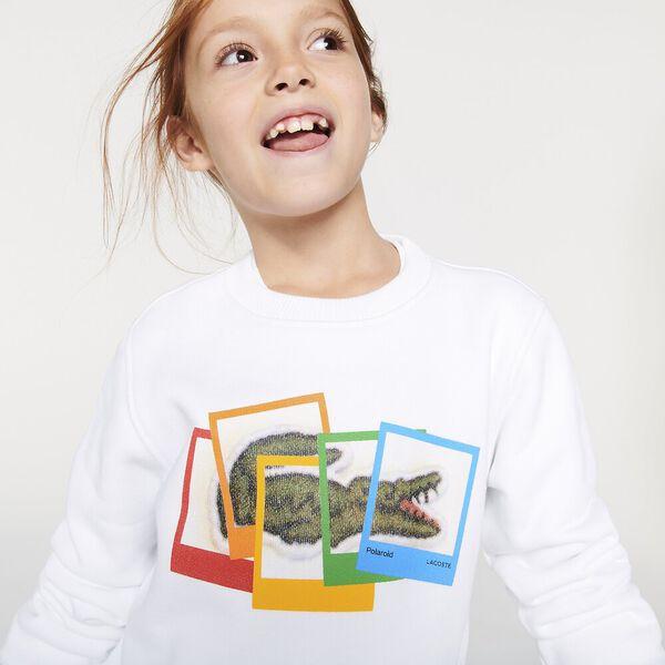 Boys' Lacoste x Polaroid Print Cotton Fleece Sweatshirt