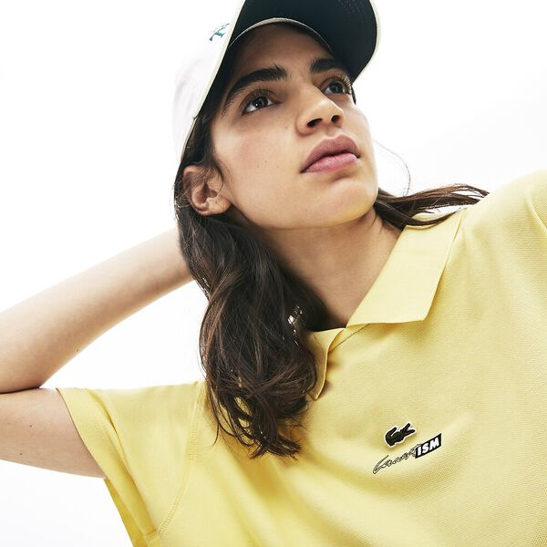 Women's LIVE Boxy Fit Zip Collar Stretch Piqué Polo, JAUNE, hi-res