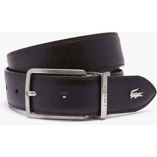 Men's Engraved Buckle Texturised Leather Belt