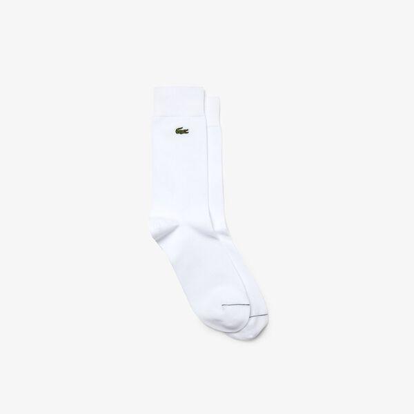 Men's Embroidered Crocodile Cotton Blend Socks, BLANC, hi-res