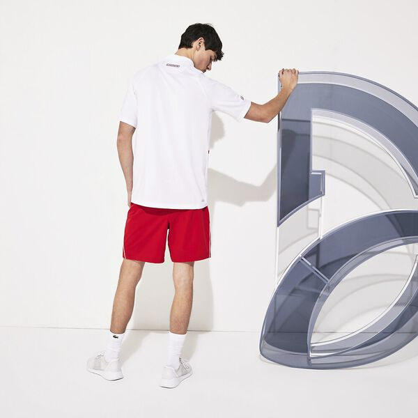 Men's SPORT Roland Garros Zippered Breathable Piqué Polo Shirt, BLANC/POMPIER-POMPIER, hi-res