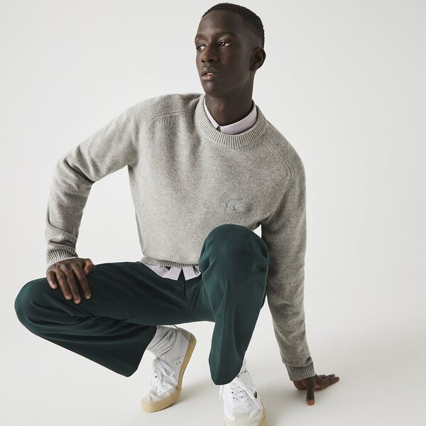 Men's Cotton And Wool Blend knitted Sweater, SILVER CHINE, hi-res