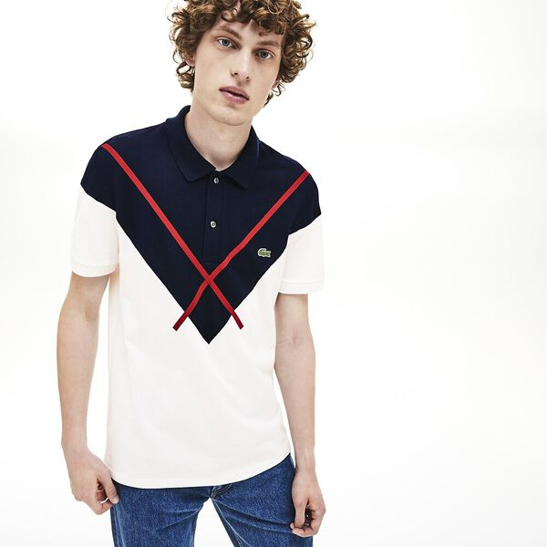Men's Made In France Reg Fit Polo, FLOUR/NAVY BLUE-ALIZARIN, hi-res