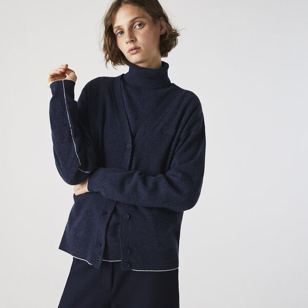 Women's V-Neck Buttoned Wool Cardigan, NAVY BLUE CHINE, hi-res