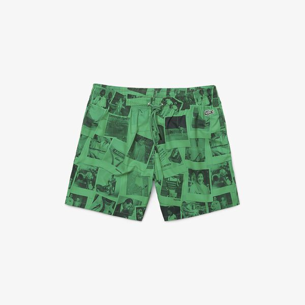 Unisex Lacoste LIVE x Polaroid Print Swimming Trunks, MALACHITE/BLACK, hi-res
