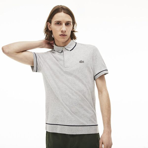 MEN'S SEMI FANCY PARIS POLO, SILVER/NAVY BLUE, hi-res