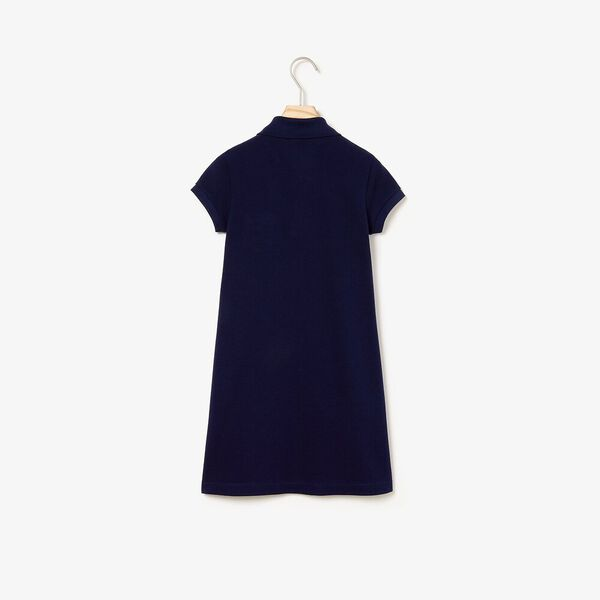 Girl's flared dress in solid mini piqué cotton, MARINE, hi-res