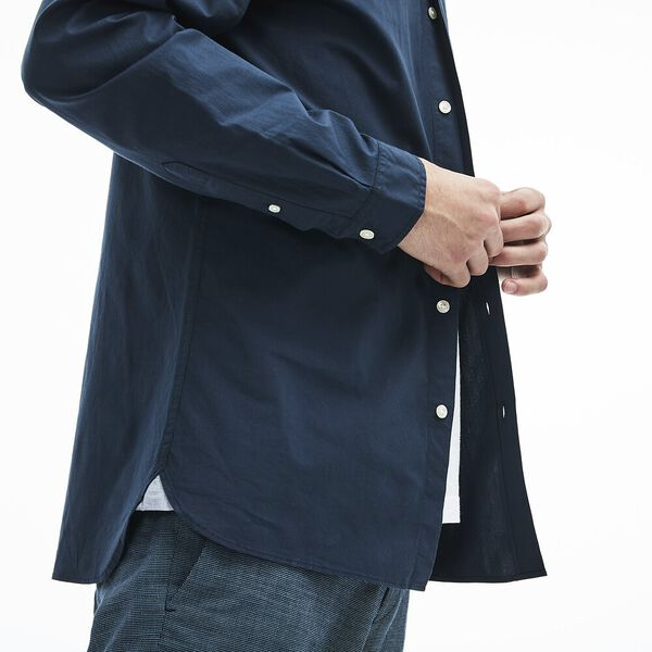 MEN'S SLIM FIT STRETCH POPLIN SHIRT, NAVY BLUE, hi-res